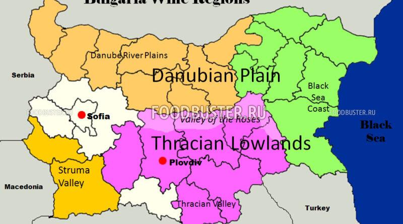 Карта винных регионов Болгарии